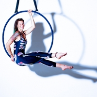 Aerial Hoop with skeleton bodysuit