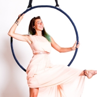 Aerial hoop with pink dress