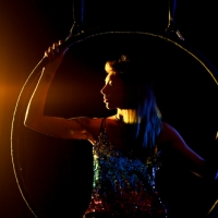 Aerial Hoop in a yellow spotlight