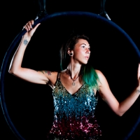 Aerial Hoop with female in sparkly dress