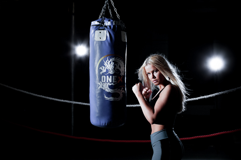 Fitness shoot with punch bag