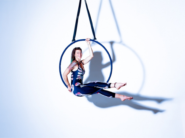 Aerial Hoop with skeleton bodysuit with shadow
