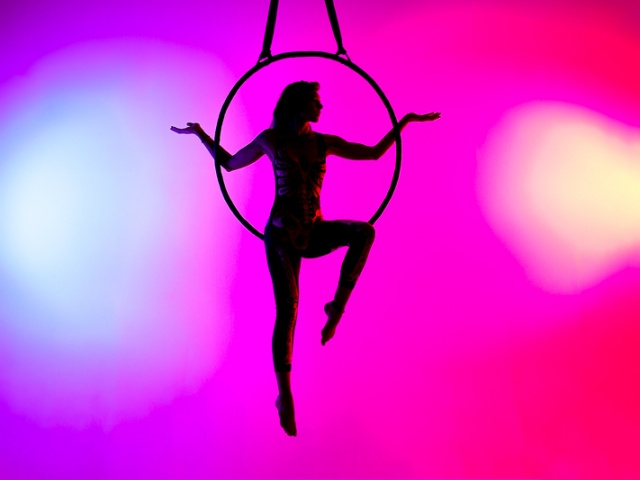 Aerial Hoop Silhouette with blue and red background