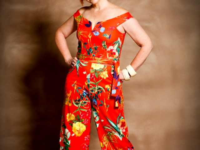 A bit of fun with bright flowered jump suit